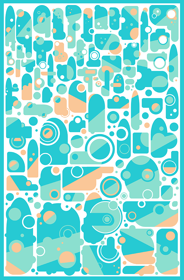 Abstract blue and orange shapes tea towel