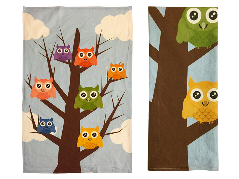 Owls in colorful squares tea towel
