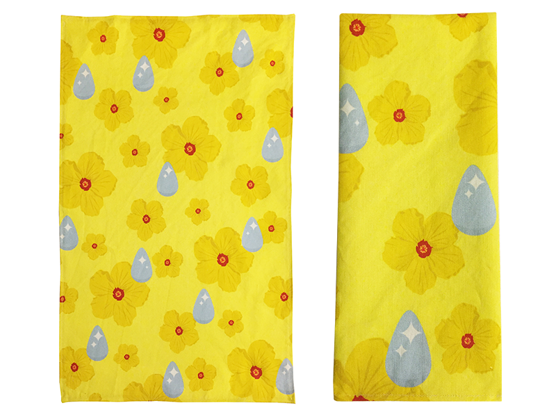 Rain drops tea towel